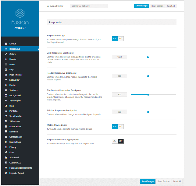 Avada Theme Options