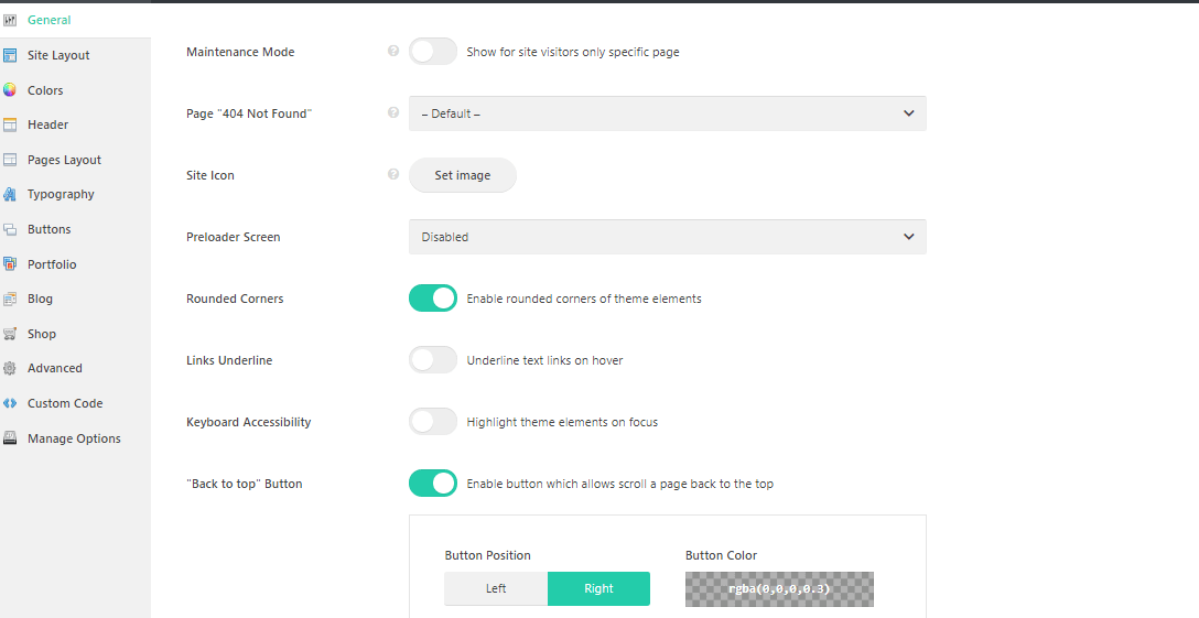 Impreza theme options panel